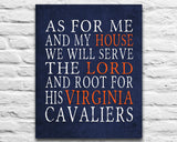 "Virginia Cavaliers inspired Personalized Customized Art Print- ""As for Me"" Parody- Unframed Print"
