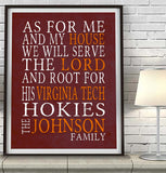 "Virginia Tech Hokies Personalized ""As for Me"" Art Print"