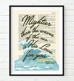 Mightier than Waves is God's Love- Psalms 93:4-Vintage Bible Highlighted Verse Scripture Page- Christian Wall ART PRINT