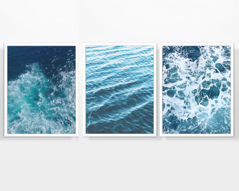 Beach Ocean Waves Photography Prints, Set of 3, Nautical Wall Decor