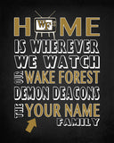 "Wake Forest Demon Deacons Personalized Customized Art Print- ""Home Is"" Parody- Retro, Vintage-  Unframed Print"