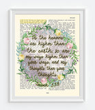As the heavens are Higher than the Earth - Isaiah 55:9 - Bible Verse Page Art Print