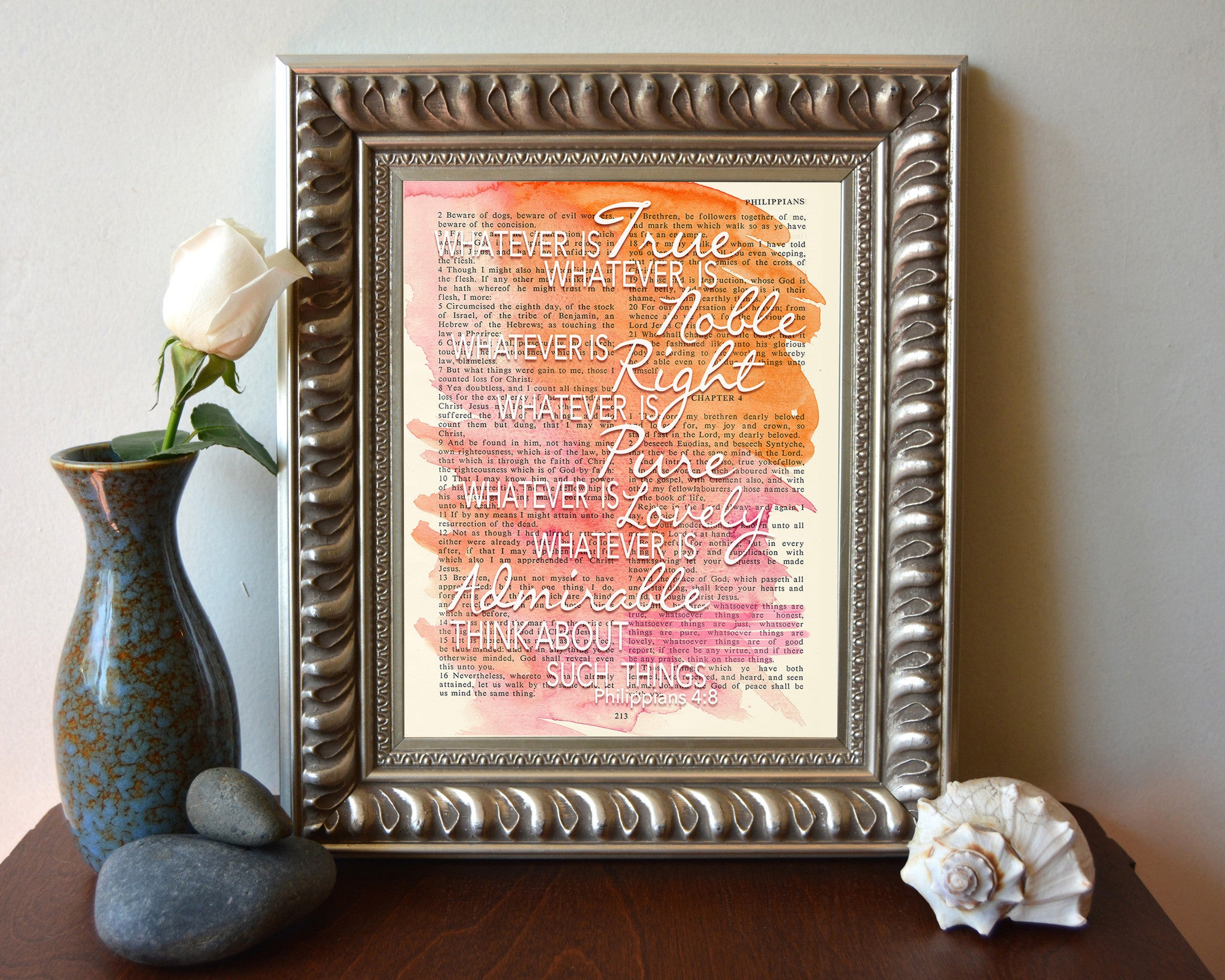 Whatever is True - Philippians 4:8 Bible Page Christian Art