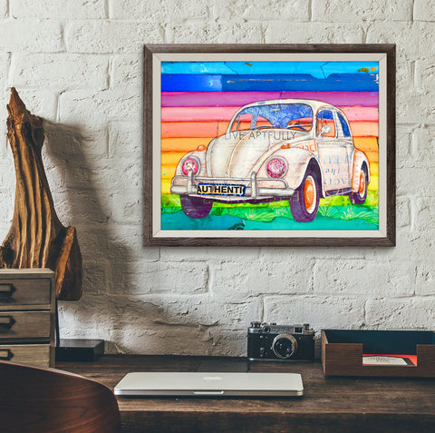 Well Rounded - Vw Volkswagen Bug Beetle- Danny Phillips Fine Art Print, All Sizes