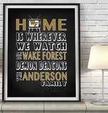 "Wake Forest Demon Deacons Personalized""Home is"" Art Print Poster Gift"