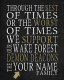 "Wake Forest Demon Deacons Personalized ""Best of Times"" Art Print"