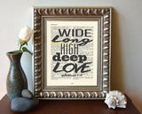 Wide, long, high, deep Love - Ephesians 3:18 -Vintage Bible Highlighted Verse Scripture Page- Christian Wall ART PRINT