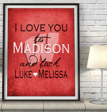"Wisconsin Badgers inspired personalized ""I Love You to Madison and Back"" Art Print Poster Gift"