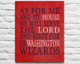 "Washington Wizards basketball inspired Personalized Art Print- ""As for Me""- Unframed"