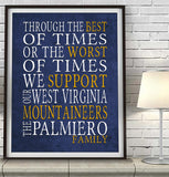 "West Virginia Mountaineers Personalized ""Best of Times"" Art Print Poster Gift"