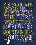 "West Virginia Mountaineers inspired Personalized Customized Art Print- ""As for Me"" Parody- Unframed Print"