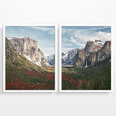Yosemite National Park Photography Prints, Set of 2, Mountain Landscape Wall Decor