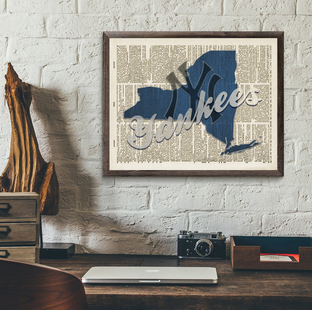 New York Yankees on old Dictionary Page Art Print - Christmas poster gift