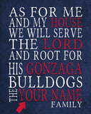 "Gonzaga Bulldogs Personalized ""As for Me"" Art Print"