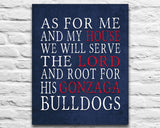 "Gonzaga Bulldogs inspired Personalized Customized Art Print- ""As for Me"" Parody- Unframed Print"