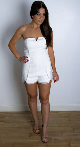 Alice Lace Finish White Playsuit