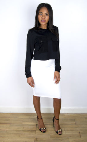 Black Pocketed Crop Jumper