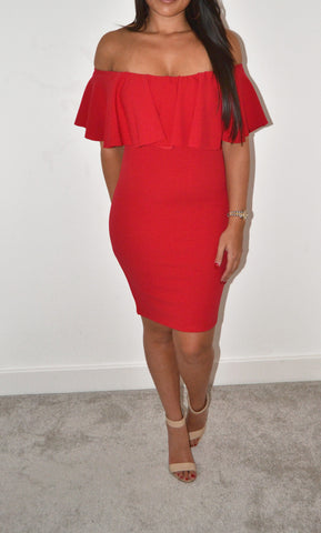 Mollie Bardot Dress Red