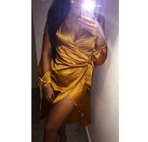 Majestic Gold Wrap Dress
