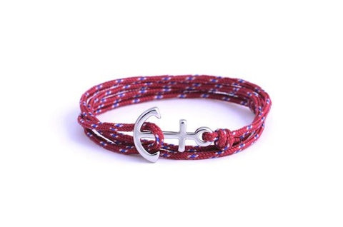 Crew - Burgundy Anchor Bracelet