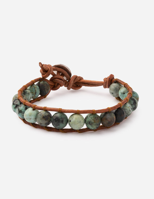African Turquoise Wrap Christian Bracelet