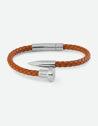 Classic Brown Leather Nail Bracelet Christian Nail Bracelet