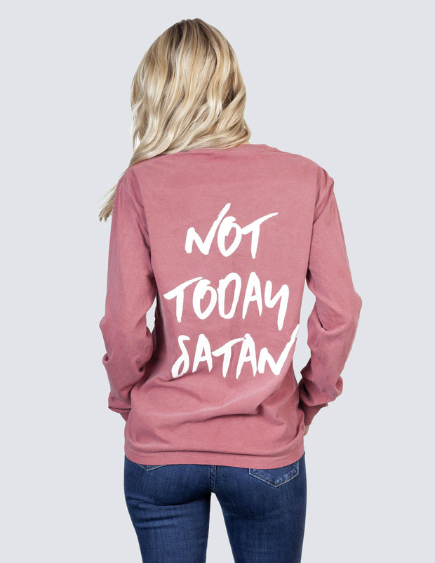 Maroon Not Today Satan Long-Sleeve Unisex Tee Christian T-Shirt
