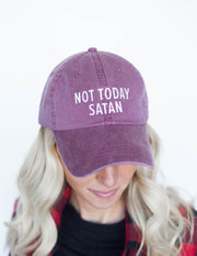 Not Today Satan Dad Hat Christian Hat