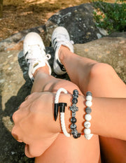 Pearl Leather + Black Nail Bracelet Christian Nail Bracelet