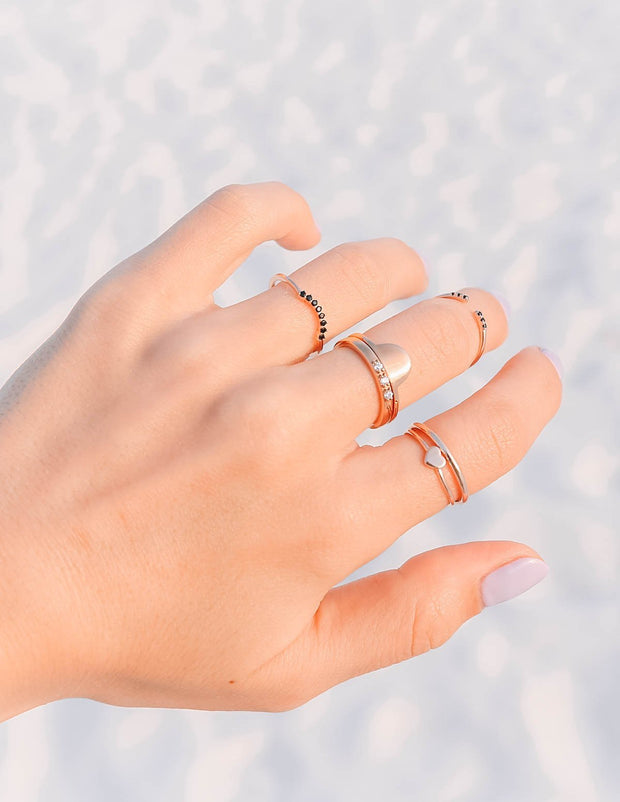Rose Gold Half Moon Stack Christian Ring