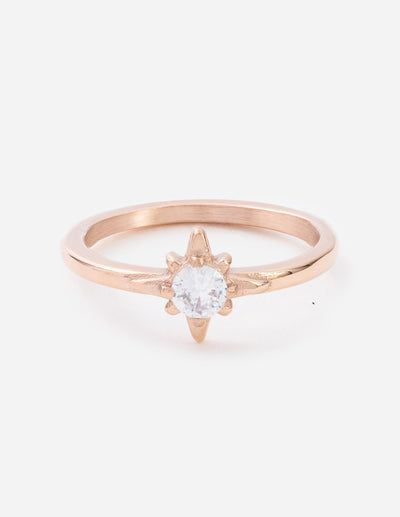 Rose Gold North Star Ring Christian Ring