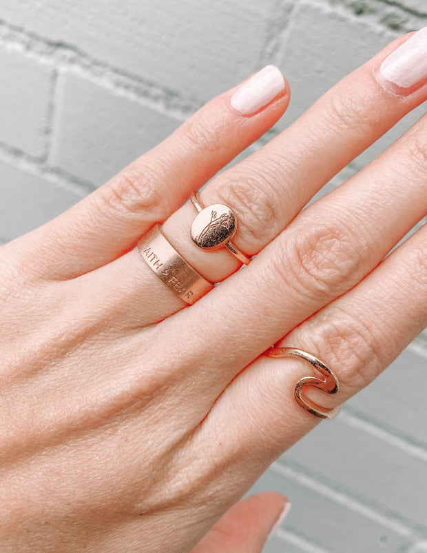 Rose Gold Wave Ring Christian Ring