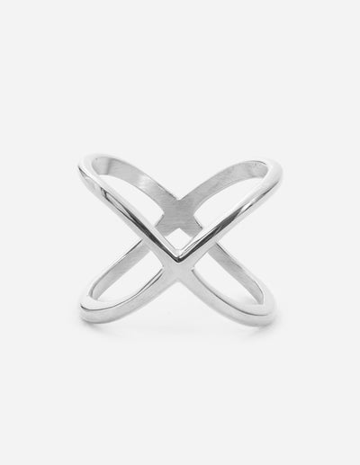 Silver Crossover Ring Christian Ring