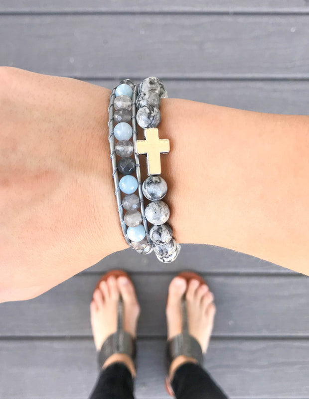Slate Grey Cross Christian Stone Bracelet