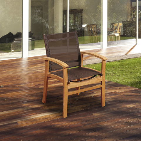 Amazonia Fortuna Teak Dining Armchair with Brown Textile Sling - Budget Patio Furniture Under $500 - PatioBros