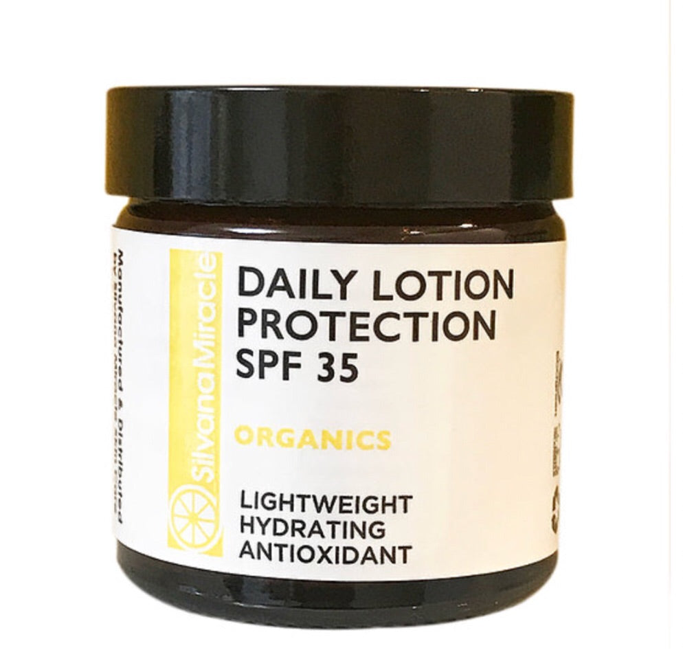 Ultra-lightweight Sun Protection Daily Lotion SPF 35+ / Antioxidant / Light Weight / Non Greasy - Silvana Miracle Handmade Natural Skin Care