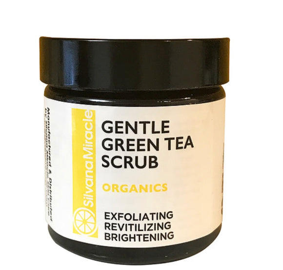 Gentle Scrub Green Tea / Exfoliates Dead Dull Skin / Skin Brightening - Silvana Miracle Handmade Natural Skin Care