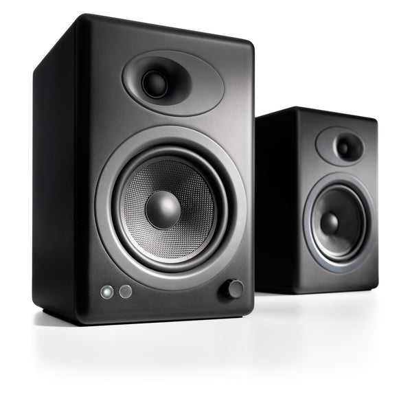 Audioengine A5+ Powered Desktop Speakers in black front 3-4 view