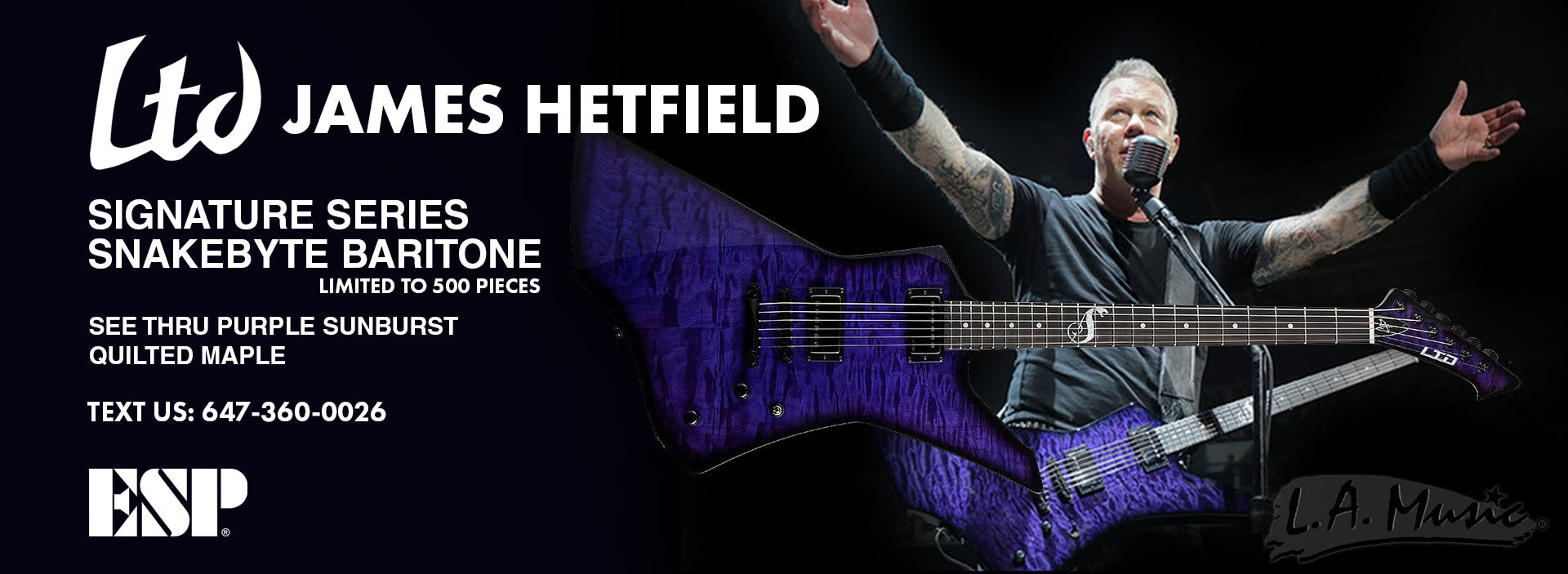ESP LTD JAMES HETIFIELD SNAKEBYTE SE BARITONE SEE THRU PURPLE QUILTED MAPLE