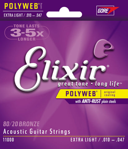 Elixir Acousitc Guitar 6 String PolyWeb Extra Light 11000 - L.A. Music - Canada's Favourite Music Store!