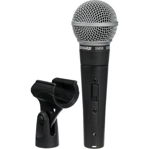 Shure SM58S Cardioid dynamic microphone with on/off switch.