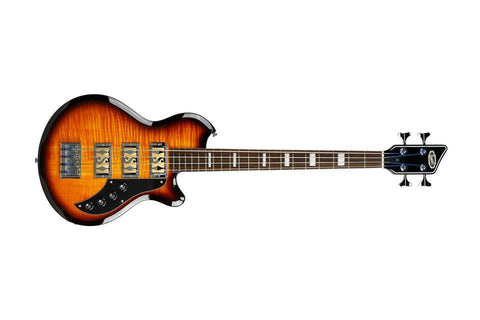 Supro Huntington III with Piezo Pickup Flame Tobacco Sunburst Bass Item 2043PTS