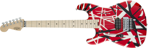 EVH Striped Series LEFT HANDED R/B/W, Maple Fingerboard, Red, Black and White Stripes