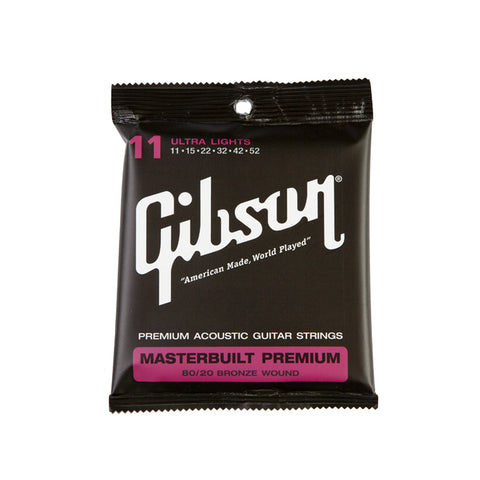 Gibson Masterbuilt Premium 80/20 Brass Acoustic Guitar Strings Ultra Lights 11-52 - L.A. Music - Canada's Favourite Music Store!