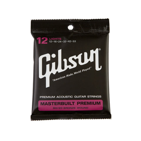Gibson Masterbuilt Premium 80/20 Brass Acoustic Guitar Strings Lights 12-53 - L.A. Music - Canada's Favourite Music Store!