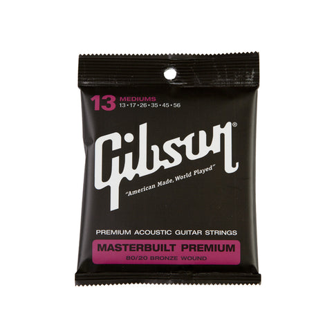Gibson Masterbuilt Premium 80/20 Brass Acoustic Guitar Strings Medium 13-56 - L.A. Music - Canada's Favourite Music Store!