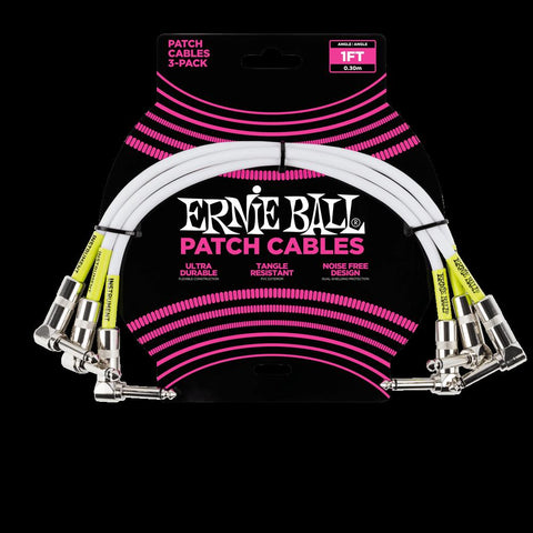 Ernie Ball 1' Angle/Angle Patch Cable, 3 Pack White