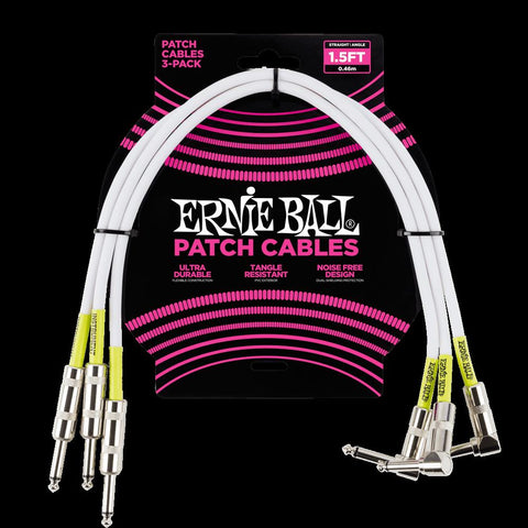 Ernie Ball 1.5 Straight Angle Patch Cable, 3 Pack, White