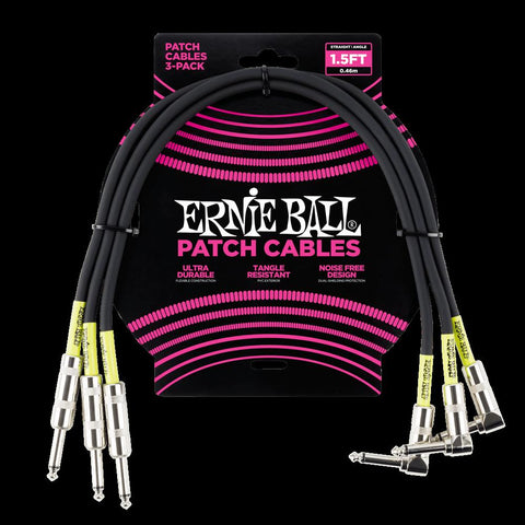 Ernie Ball 1.5 Straight Angle Patch Cables - 3 Pack