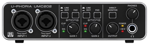 Behringer UMC202 U-PHORIA Audiophile 2x2, 24-Bit 96 kHz USB Audio Interface with MIDAS Mic Preamplifiers